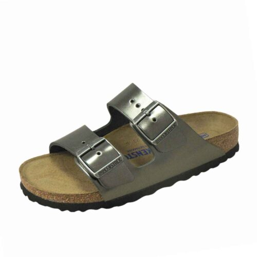Arizona Natural Leather Soft Footbed Metallic Anthracite